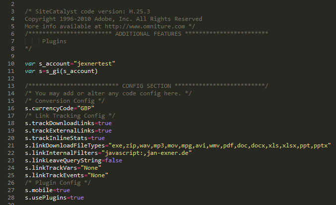 The s_code.js file - Configuration (1/4)